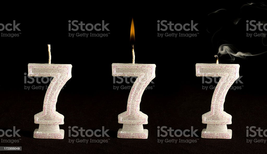 Candle Number Seven royalty-free stock photo