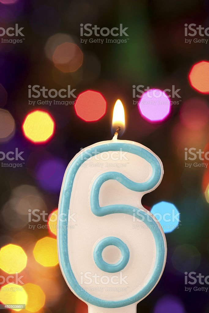 Candle number six stock photo