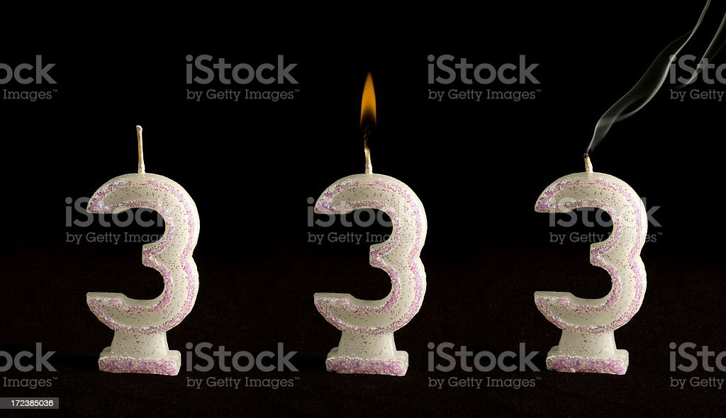 Candle Number Three royalty-free stock photo