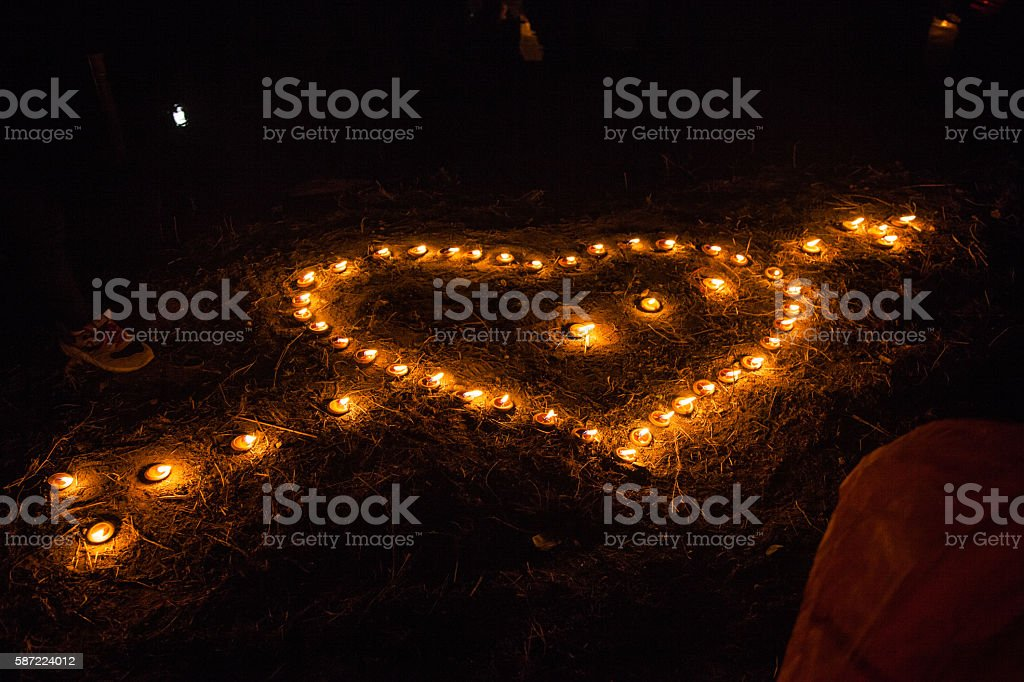 Candle of love stock photo