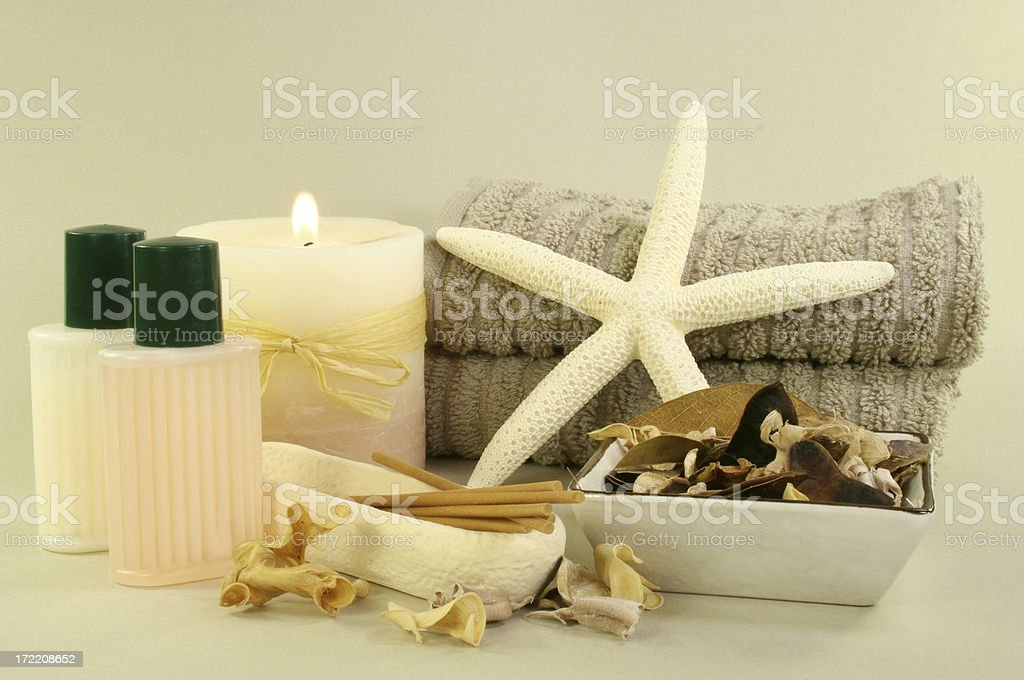 candle oils, towels royalty-free stock photo