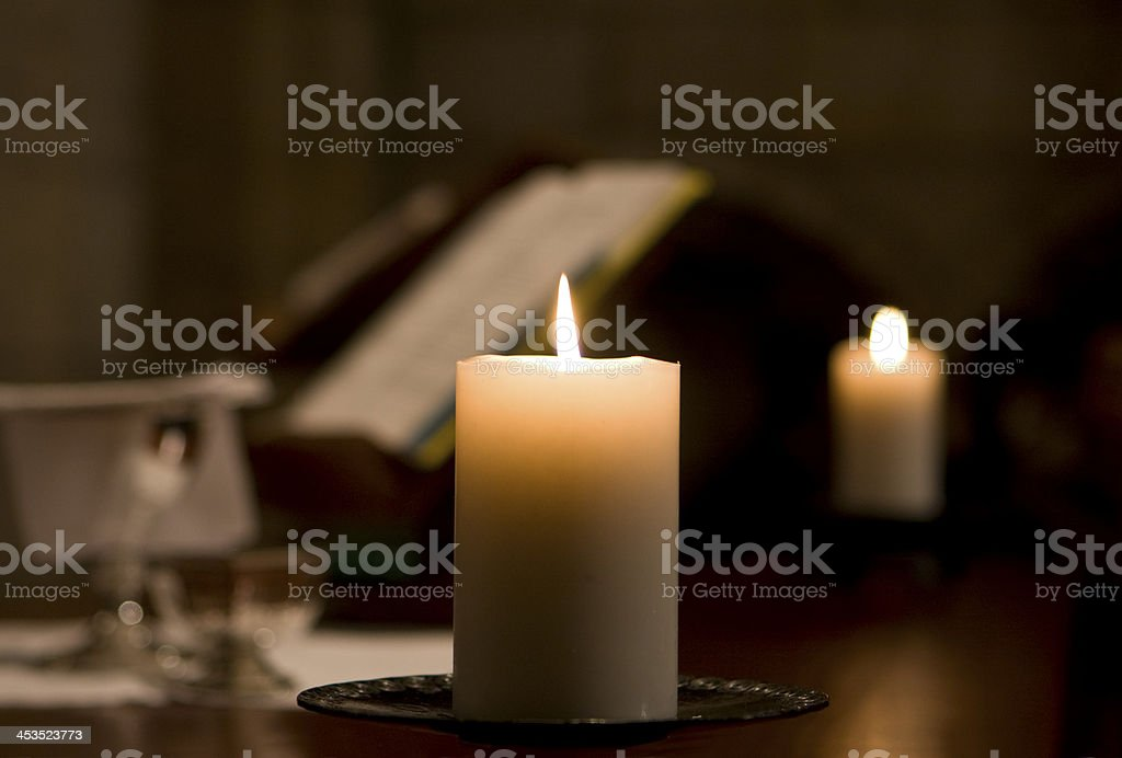 Candle On Altar stock photo