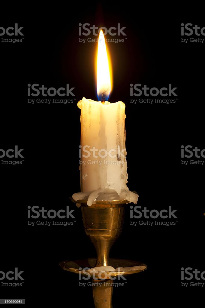 Candle on Copper Holder royalty-free stock photo