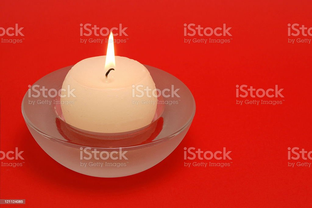 Candle on Red royalty-free stock photo