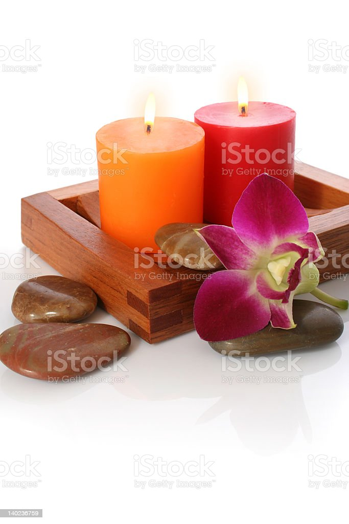Candle, Orchrid and Pebble royalty-free stock photo