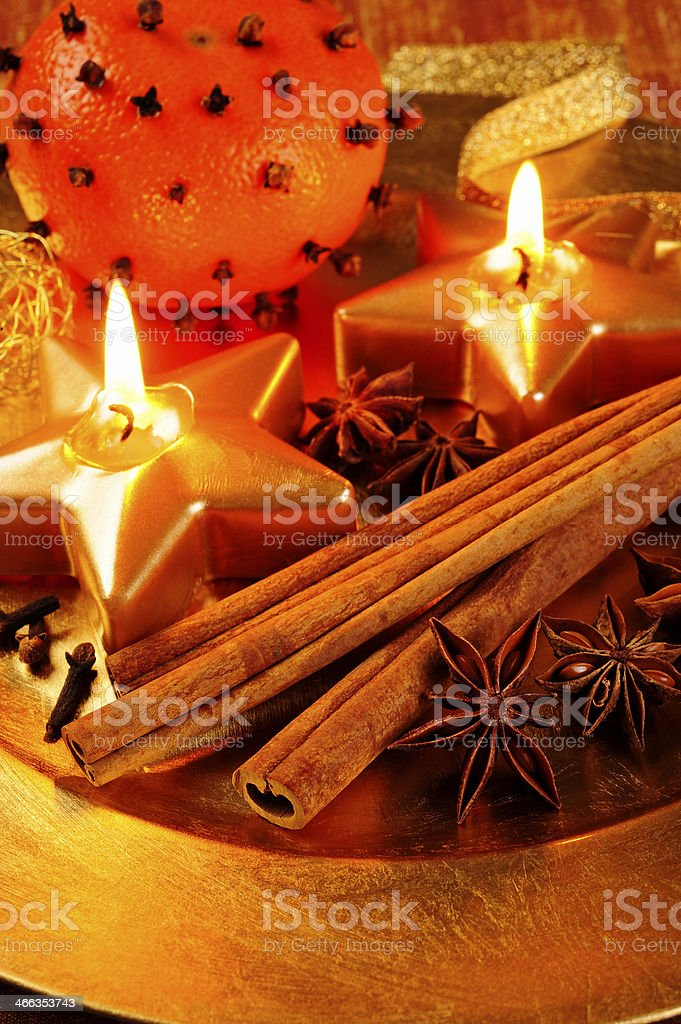 Candle plate stock photo