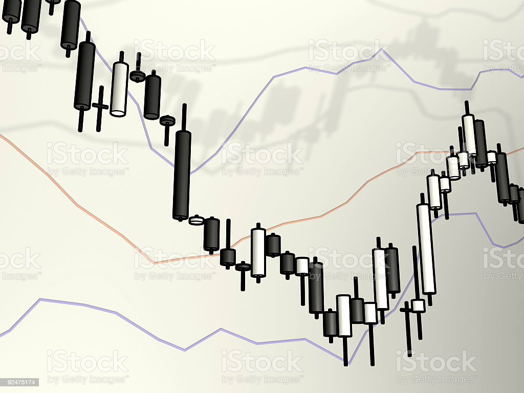 Candle Stick Chart Uptrend Sketch. royalty-free stock photo