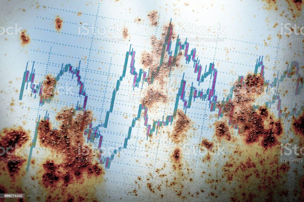 Candle stick graph chart stock photo