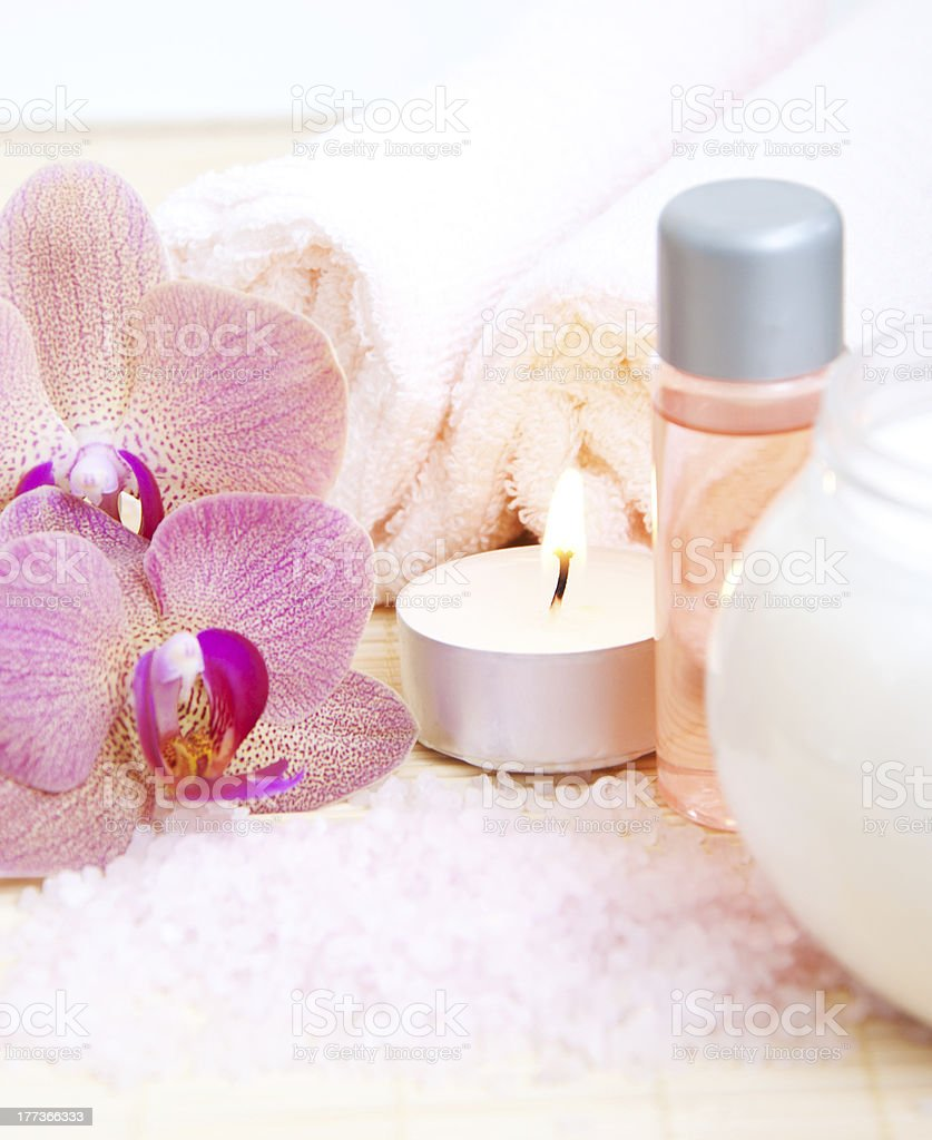 Candle, Towel and Orchid royalty-free stock photo
