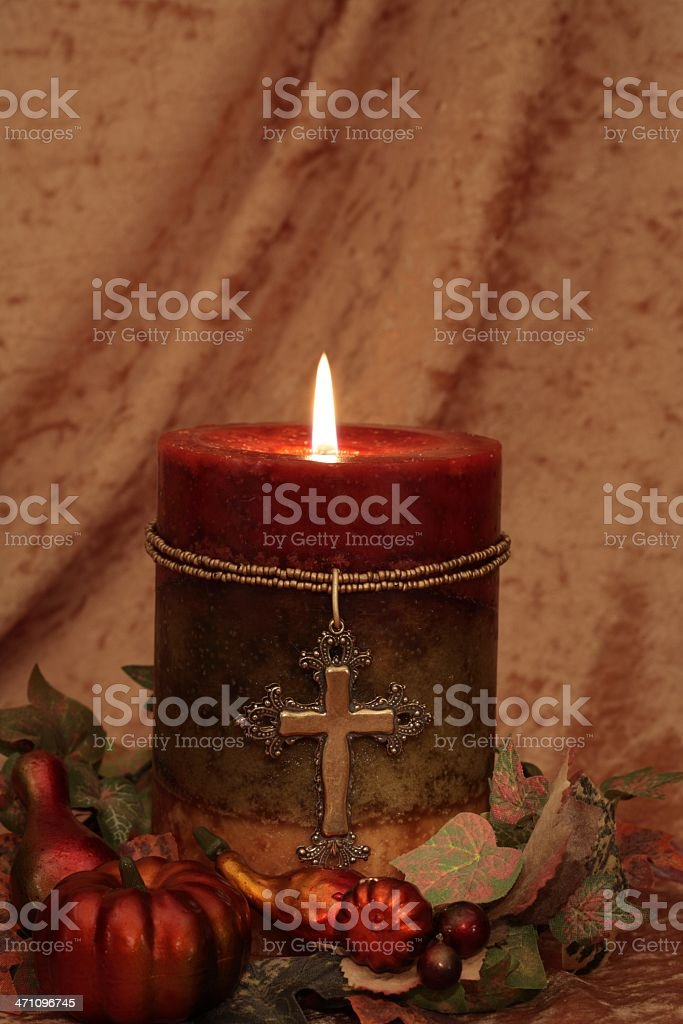 Candle with Cross Series royalty-free stock photo