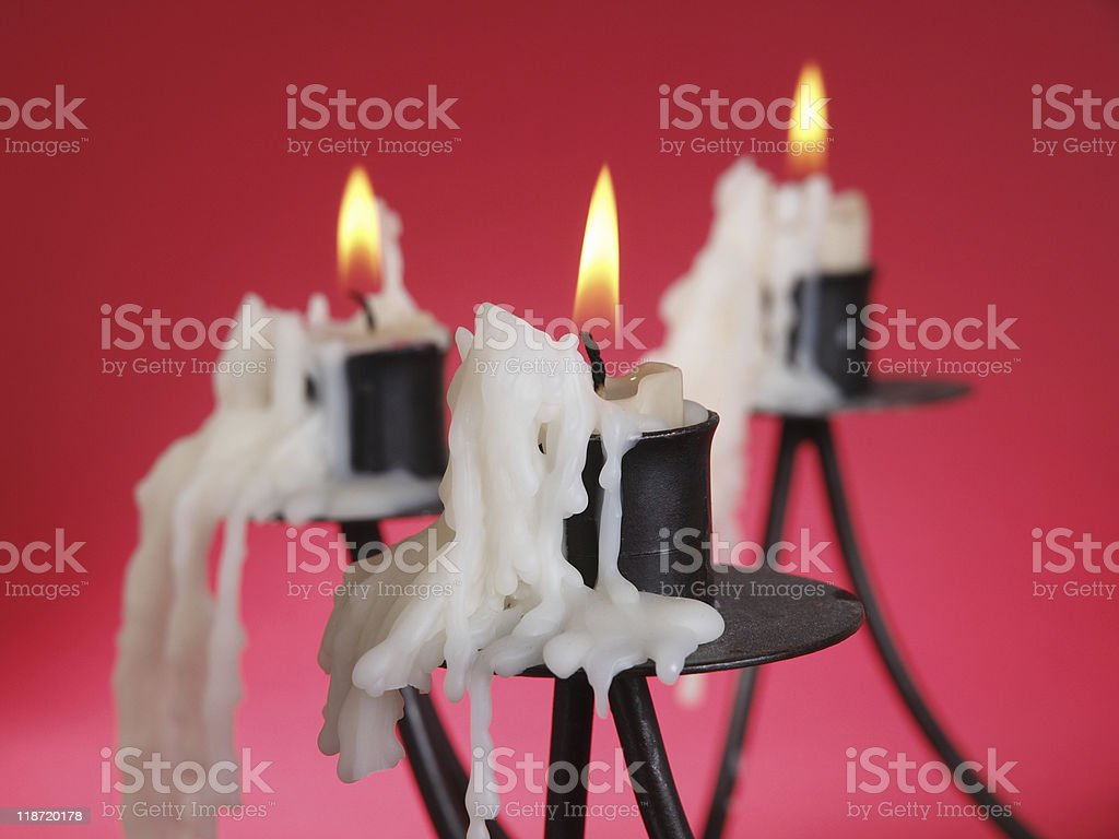 Candle with flame stock photo