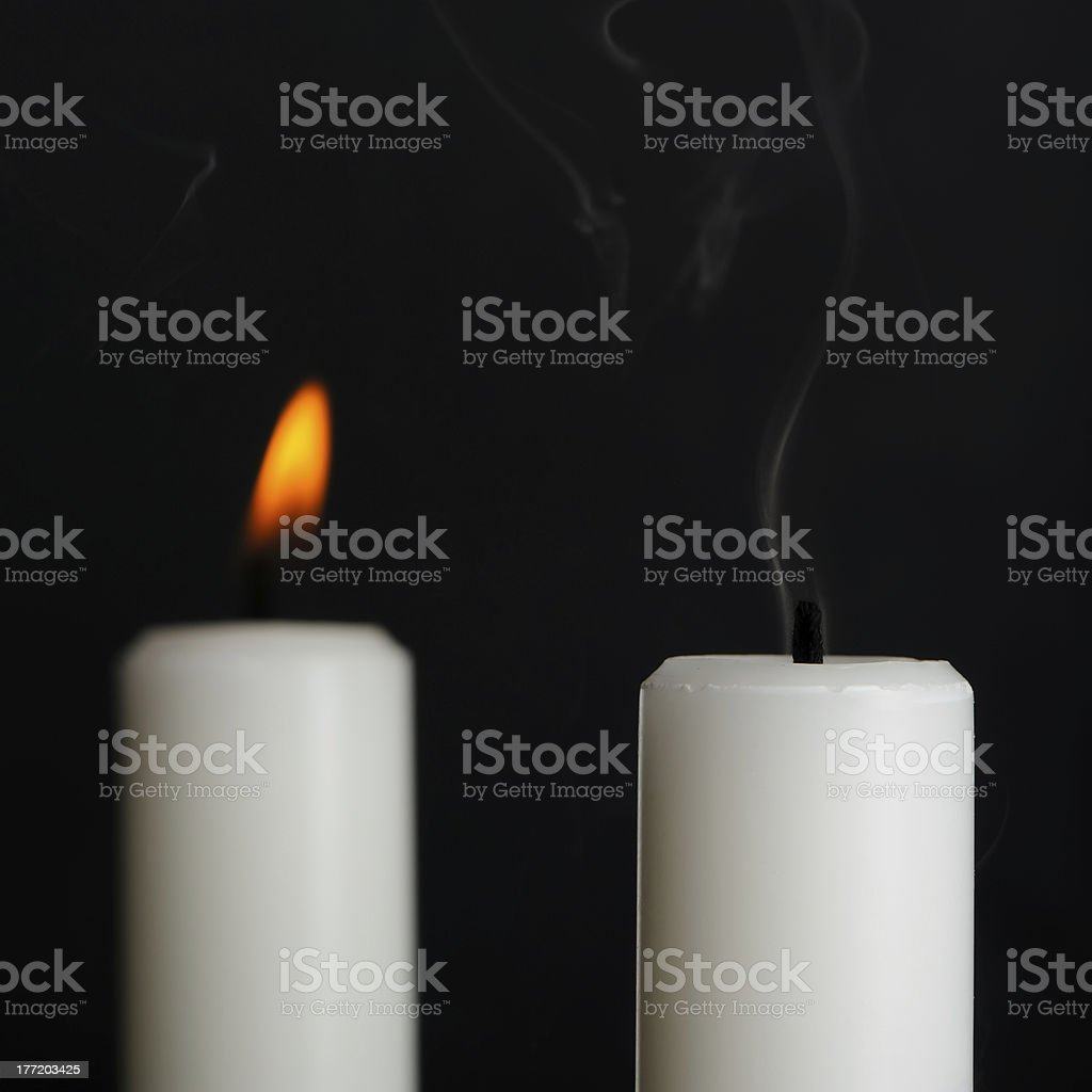 Candle with Smoke on Black royalty-free stock photo