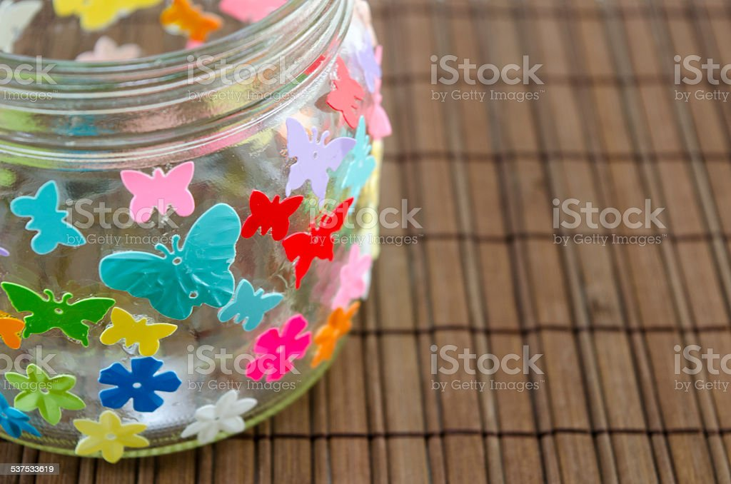 DIY candleholder closeup on a wooden table royalty-free stock photo
