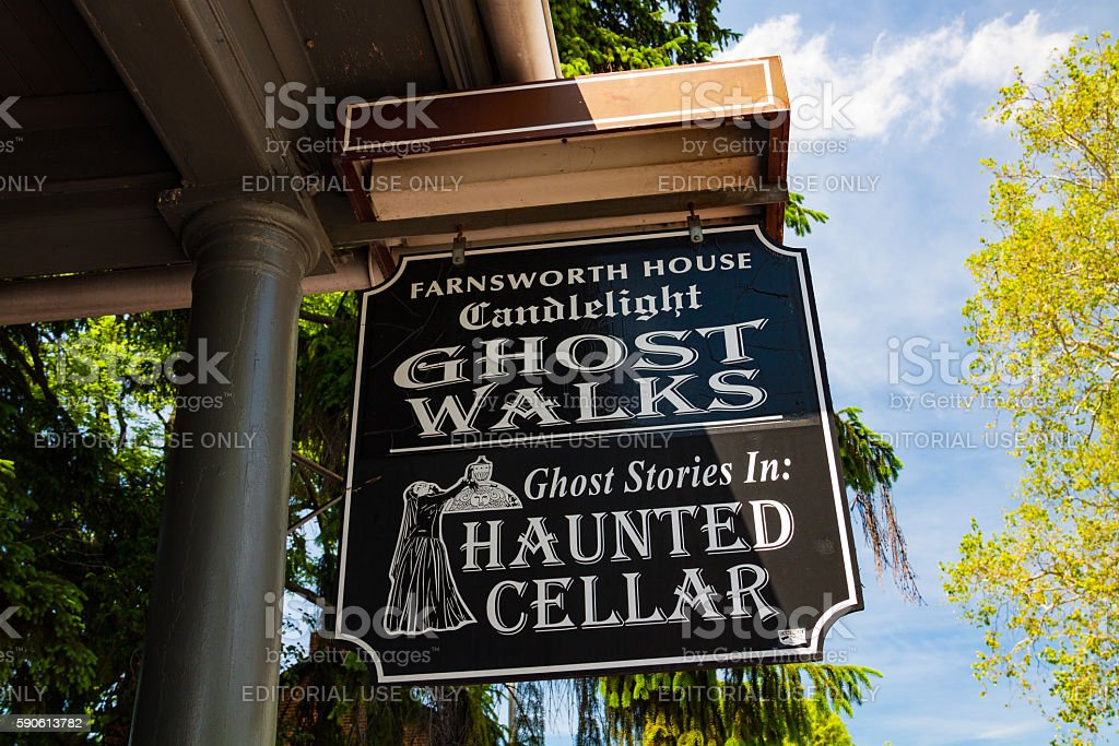 Candlelight Ghost Walk Tours sign stock photo