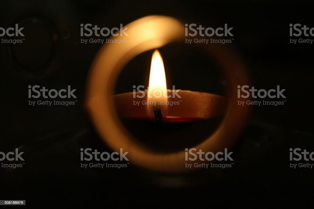 Candlelight in a Round Frame stock photo