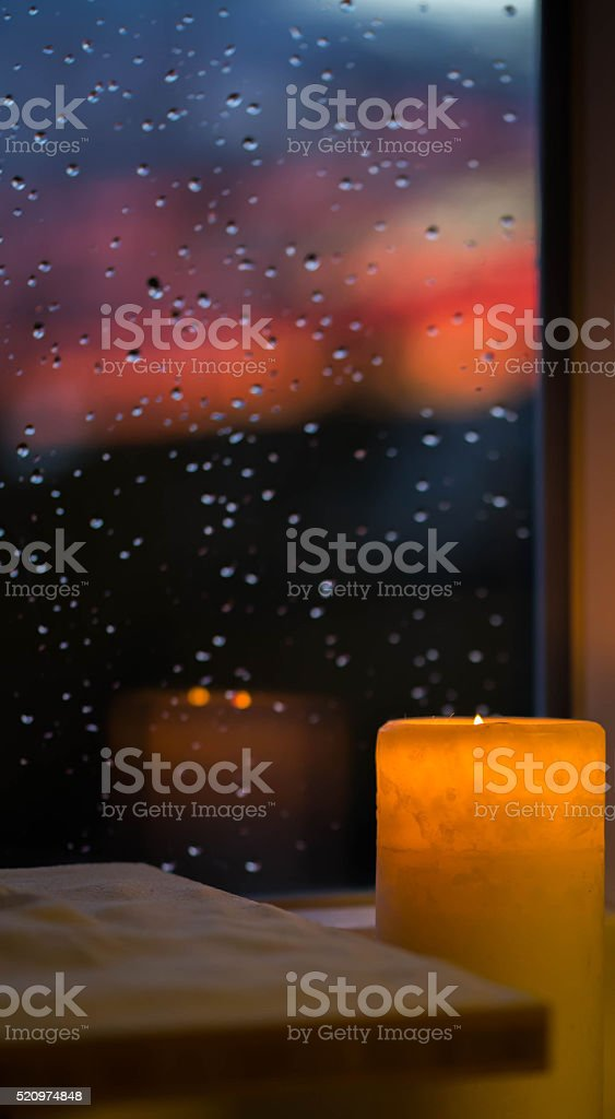 Candlelight in the dusk! stock photo