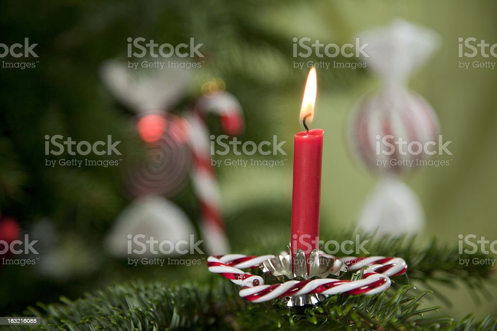 Candlelight on decorated christmas tree royalty-free stock photo