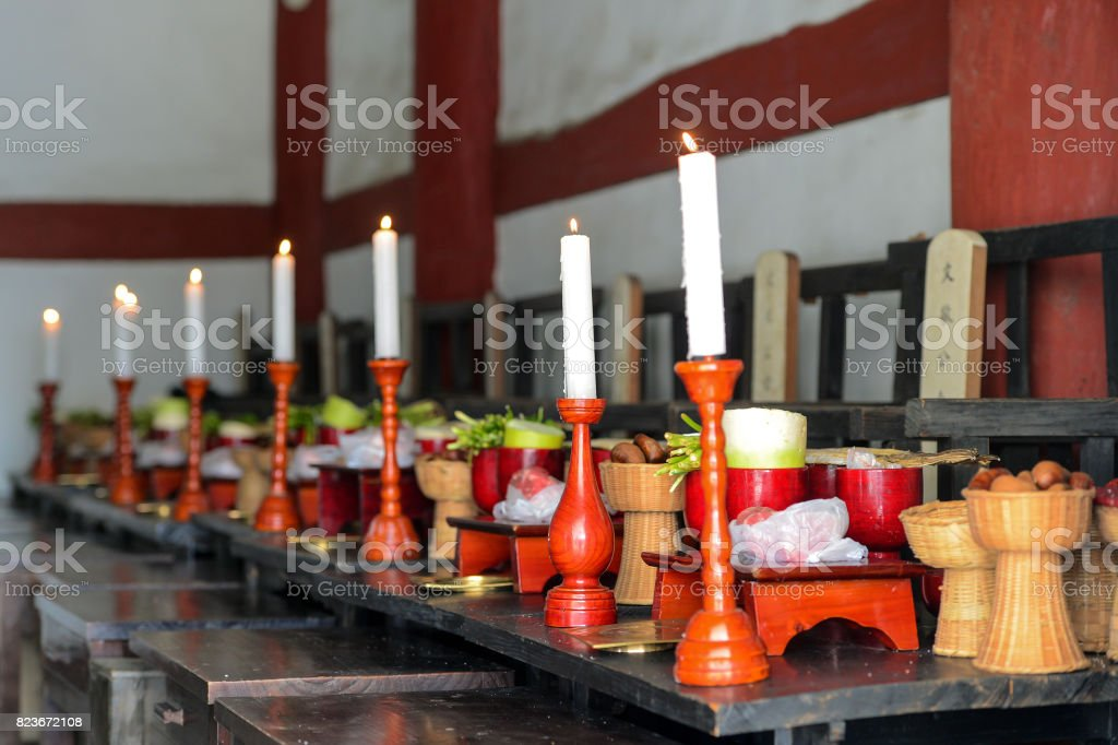 Candlelight on the altar stock photo