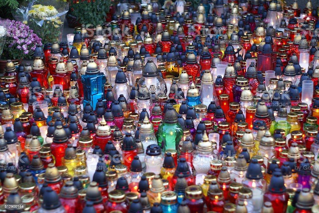 Candlelight vigil in Poland stock photo