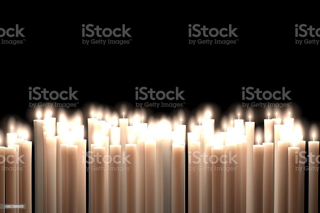 Candlelight, White Candles isolated on Black Background stock photo