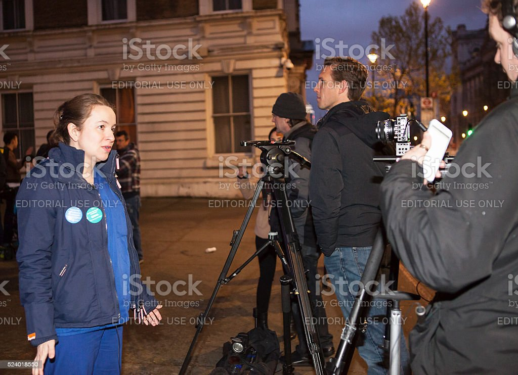 Candlelit Vigil by the Junior Doctors, 25th April, 2016. stock photo