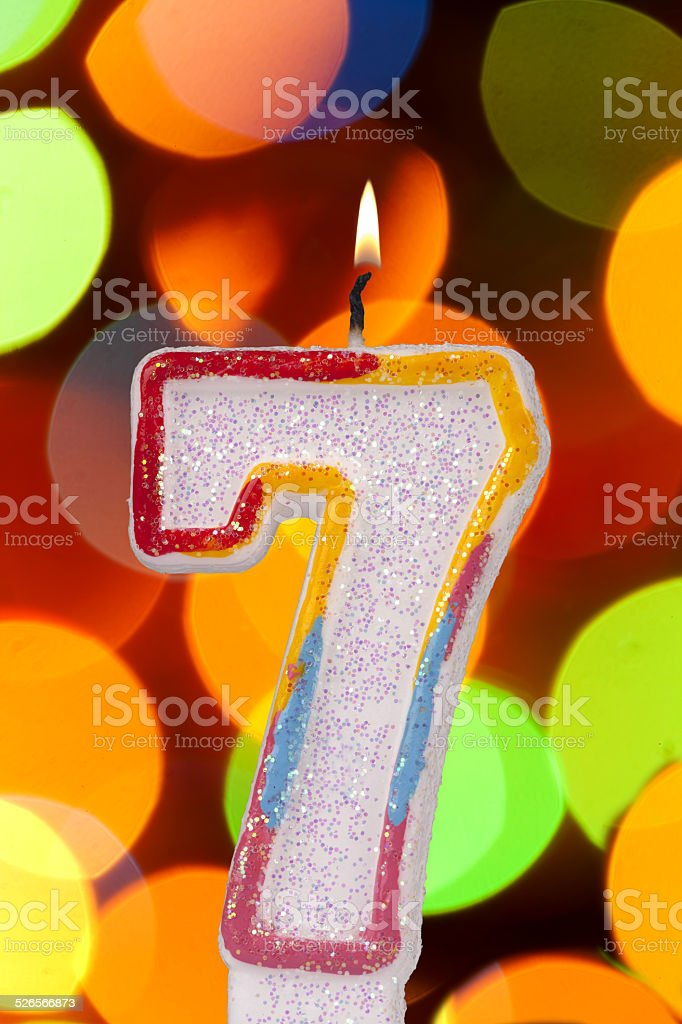 candles 7 numbers stock photo