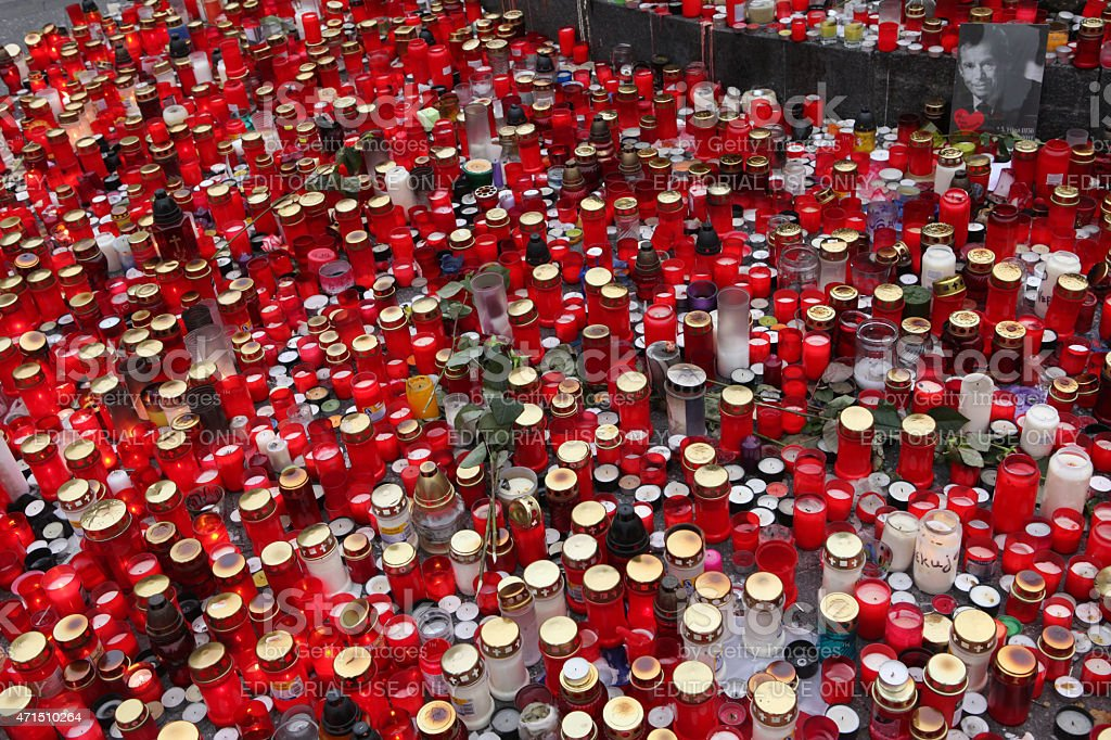 Candles alight in memoriam late Czech president Vaclav Havel stock photo