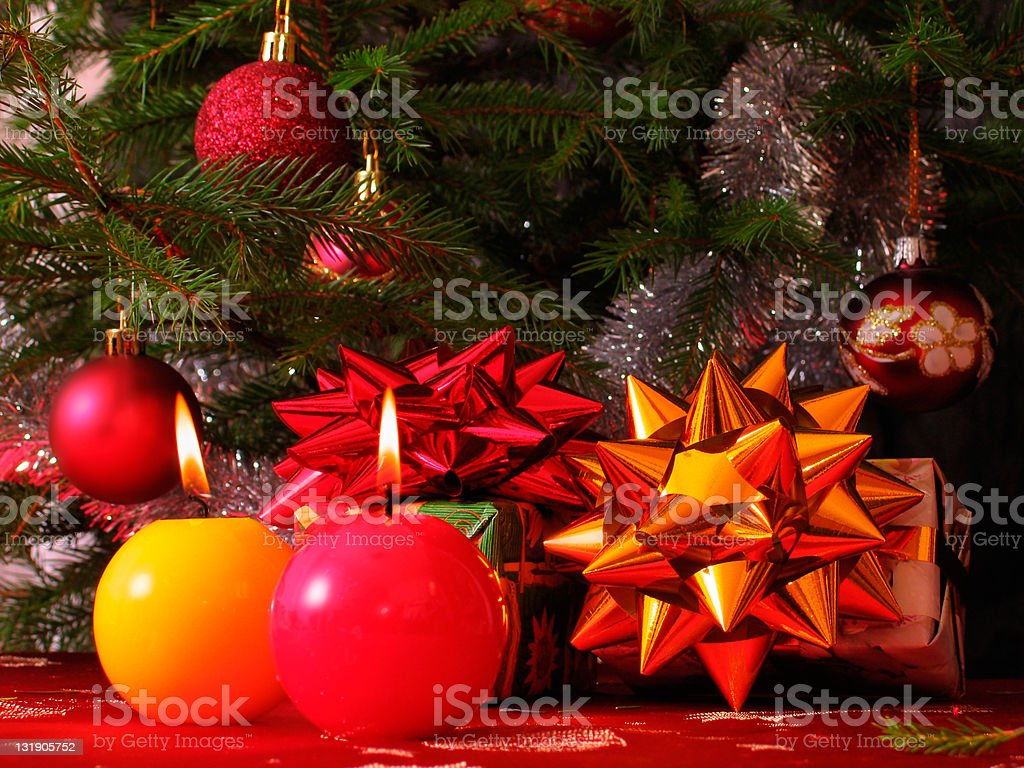 Candles and christmas tree royalty-free stock photo