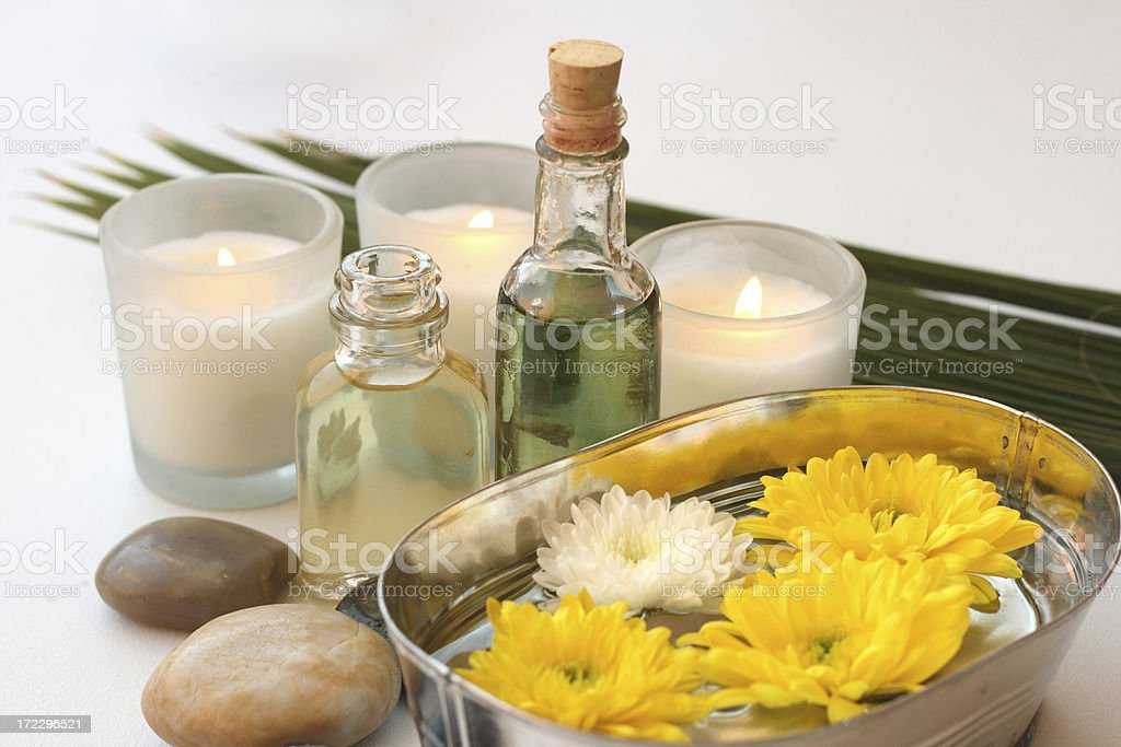 candles and floating flowers royalty-free stock photo