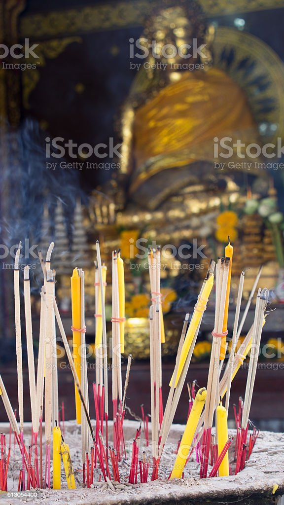 Candles and  Incense Worship stock photo