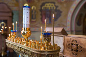 candles and lamp close-up. Interior Of Orthodox Church In