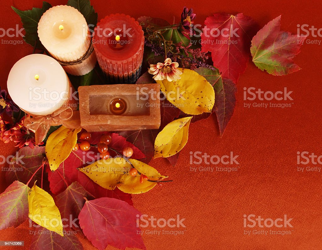 Candles and Leaves royalty-free stock photo