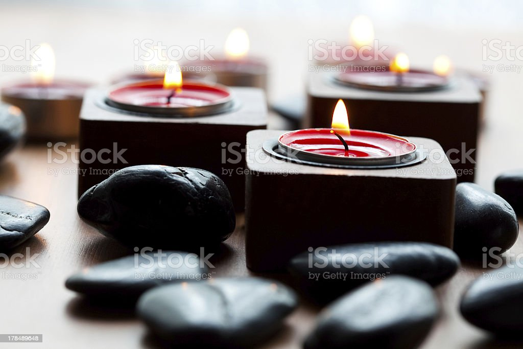 Candles and stones royalty-free stock photo
