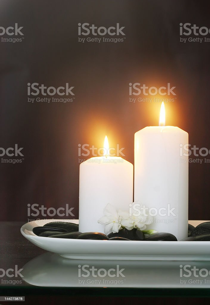 candles and white lilac flower royalty-free stock photo