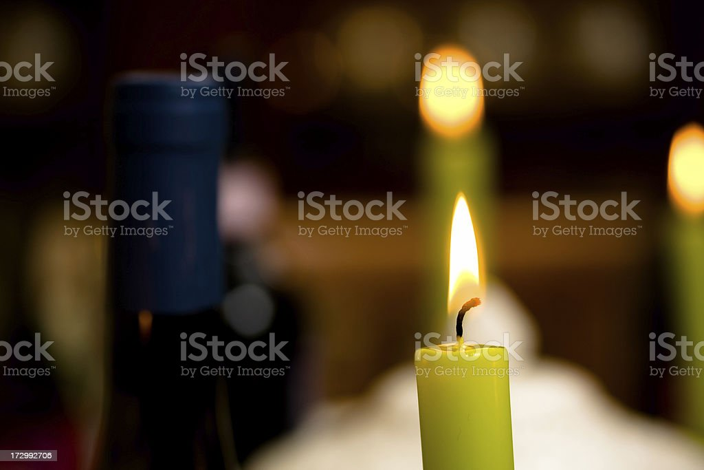 Candles and wine royalty-free stock photo