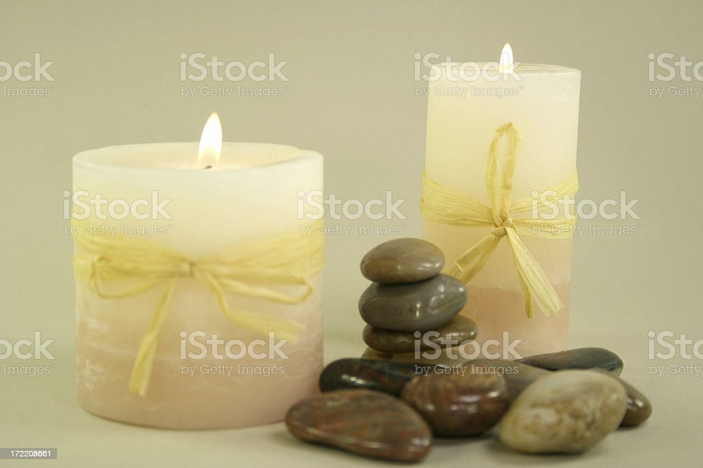 candles and zen stones royalty-free stock photo