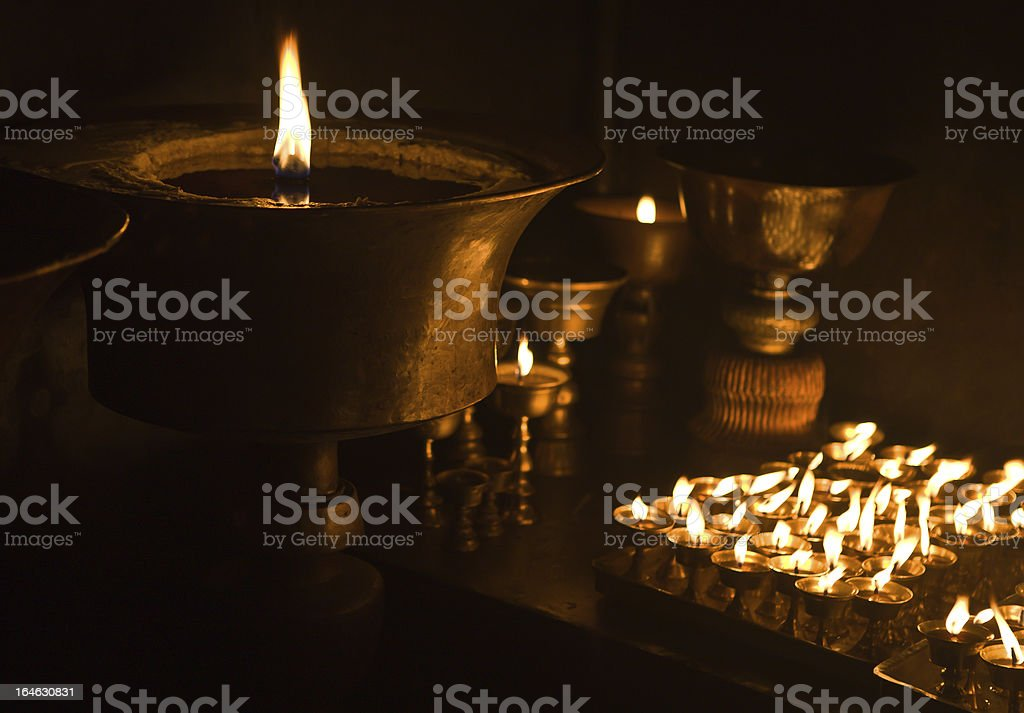 Candles at Buddhist temple royalty-free stock photo