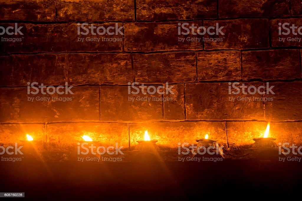 Candles at nepalese temple stock photo