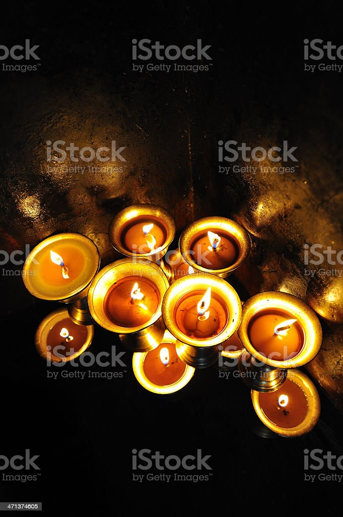 Candles at  temple in Kathmandu, Nepal royalty-free stock photo