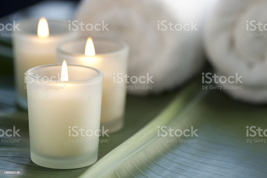Candles at the spa stock photo