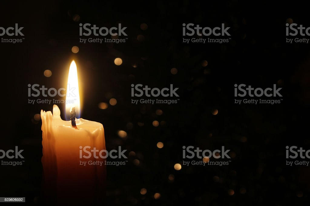 Candles Burning at Night stock photo