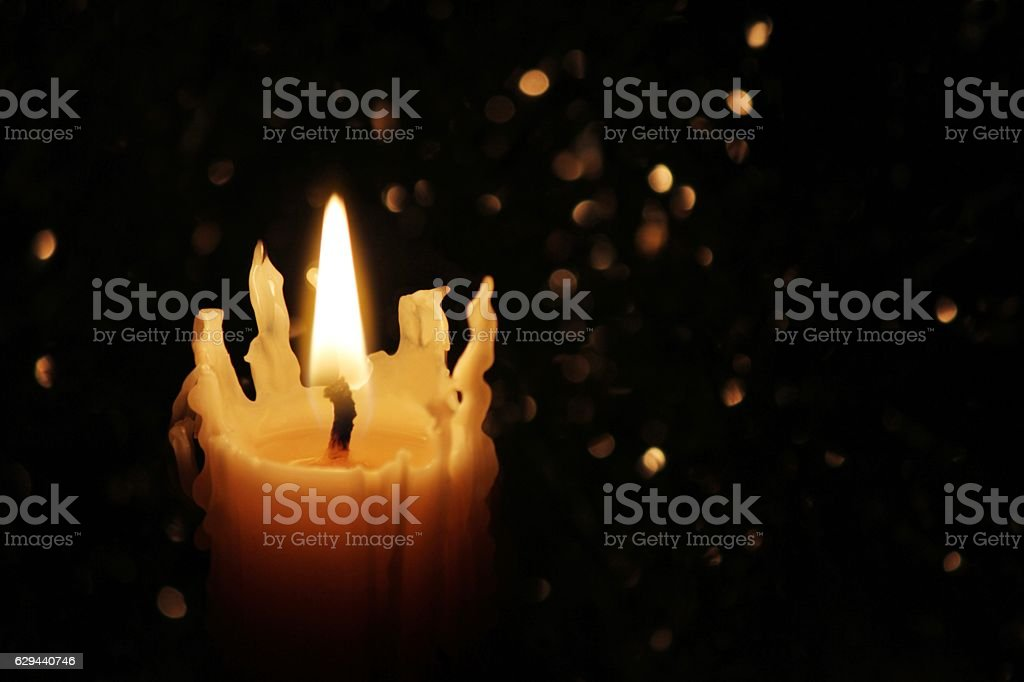 Candles Burning at Night stock photo