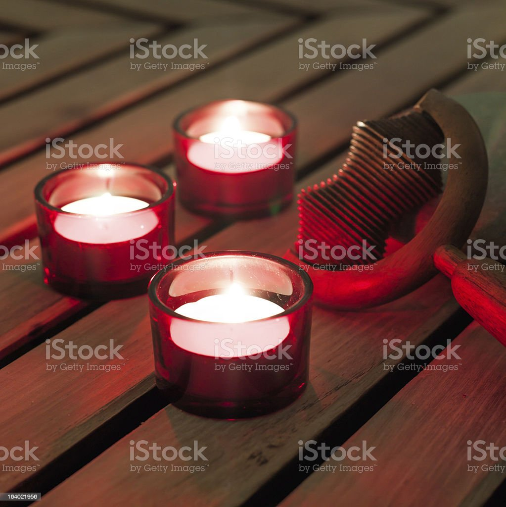 candles burning for a soothing massage royalty-free stock photo