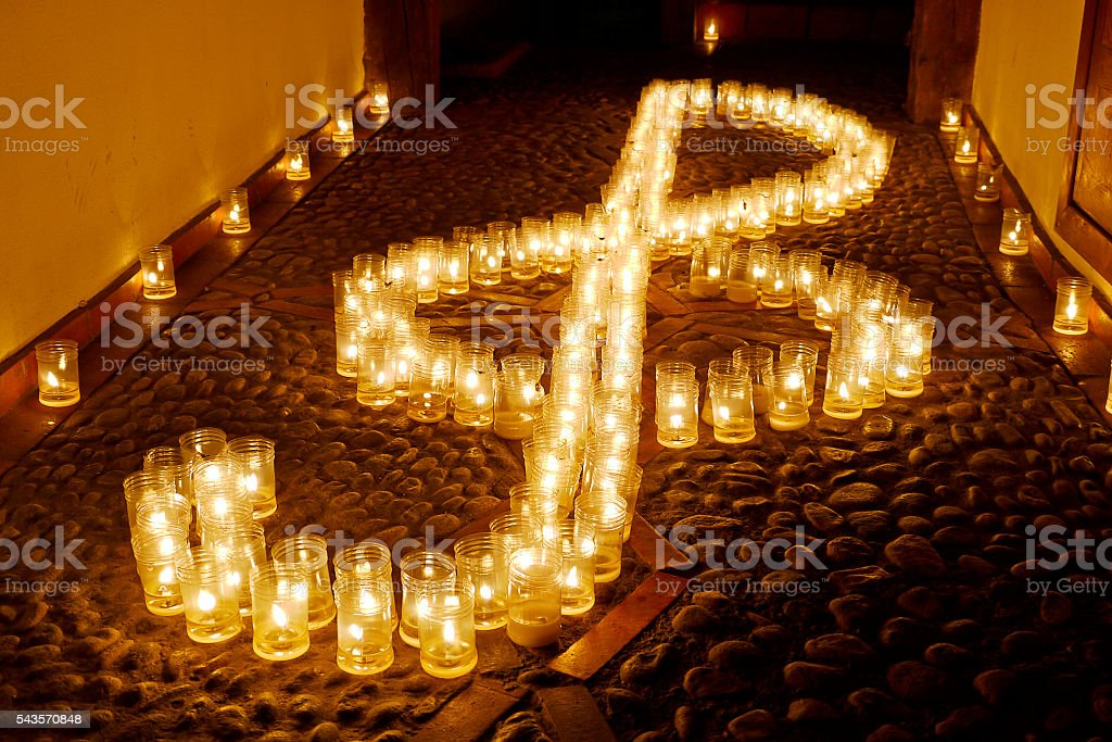 Candles by night stock photo