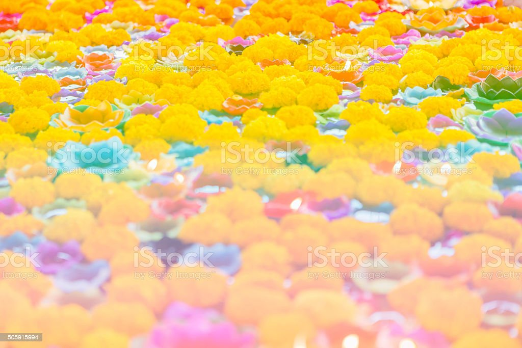 Candles Floating with Flower stock photo