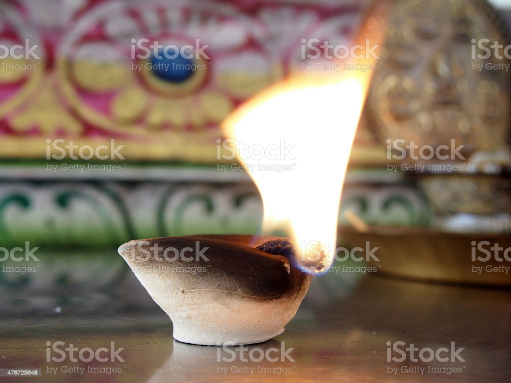Candles for rituals of Hinduism stock photo
