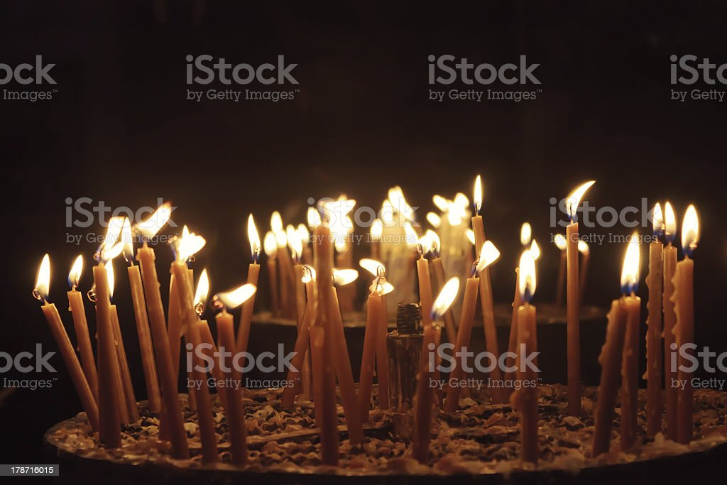 Candles in Church of the Nativity, Bethlehem, Palestine royalty-free stock photo