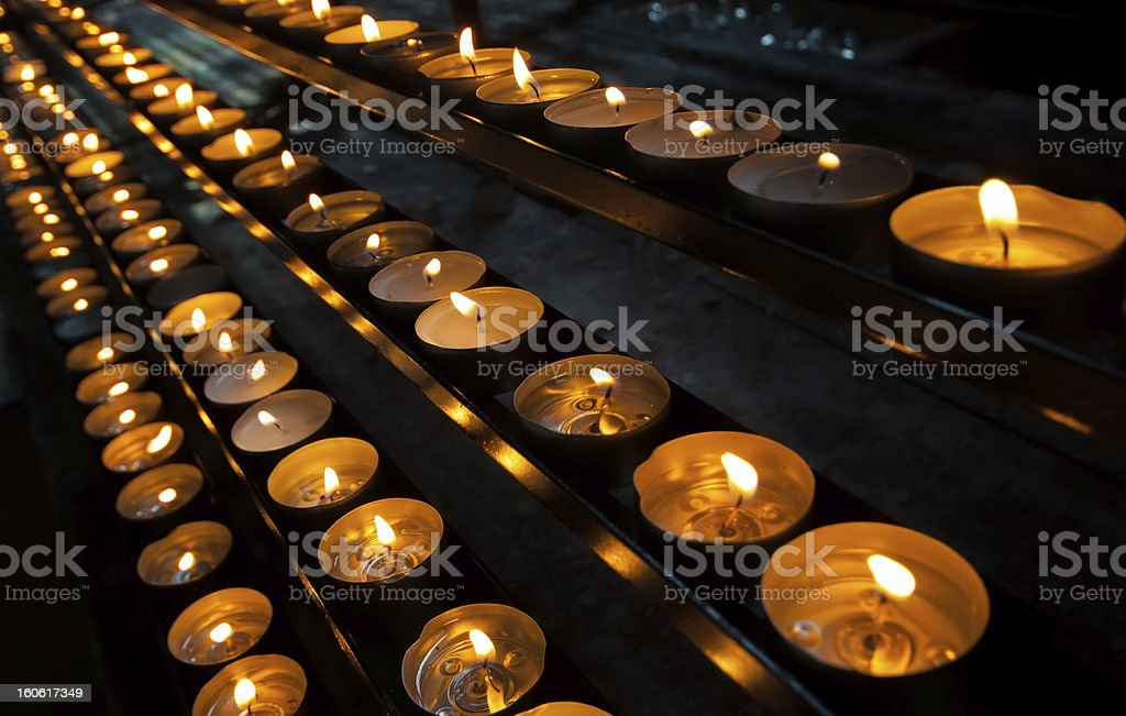 Candles in church royalty-free stock photo