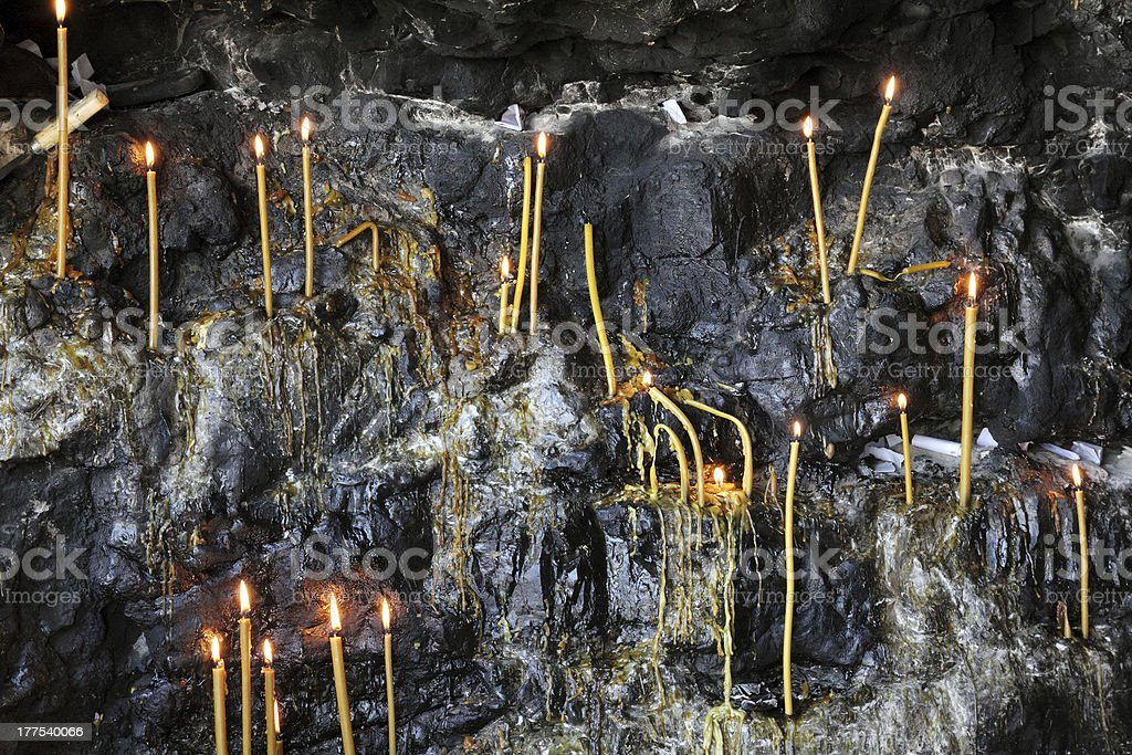 candles in grotto royalty-free stock photo