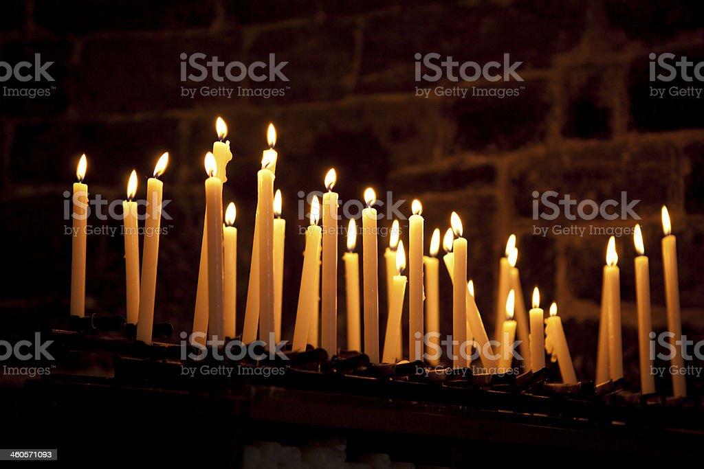 Candles in Italian Church stock photo
